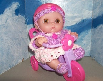 9 Inch Cutsie Doll with Crocheted Outfit and Bike