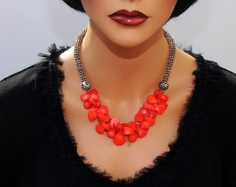Handcrafted Natural Coral Necklace, Original, Stylish, Feminine, Elegant, Gemstone Statement necklace, Unique Artisan Gift