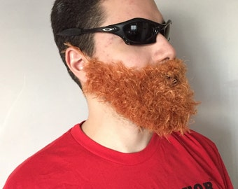 Handmade Crochet Beard Only, dettached beard, fuzzy Beard, choose any color you like, Irish beard, copper beard, ginger beard, red beard