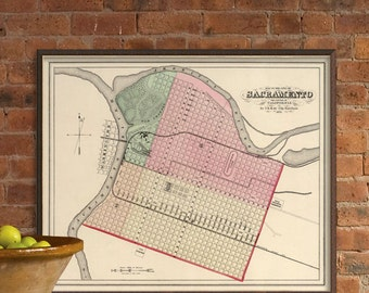 Map of Sacramento - City of Sacramento map reproduction
