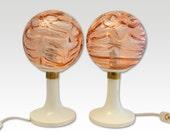 Rose glass globes with plastic bases – Vintage Lamp pair-  Globe Lamps - Retro lighting - Mid Century lighting - 1960s