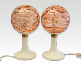 Rose glass globes with plastic bases – Vintage Lamp pair-  Globe Lamps - Retro lighting - Mid Century lighting - 1960s