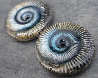 Spiral Discs- handmade ceramic artisan bead ammonite fossil tribal earring bead disc pair aqua straw yellow 2048