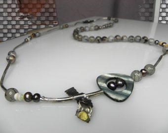 huge necklace, Statement Necklace, long multistone necklace with silver tube, contemporary jewelry, gift