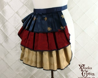 "Ruffle Bustle Overskirt - 3 Layer, Sz. XS - Red, Tan, & Navy with Stars - Best Fits up to 34"" Waist/Upper Hip -- Ready to Ship"