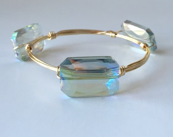 Iridescent Glass Faceted Wire Wrapped Bangle Bracelet