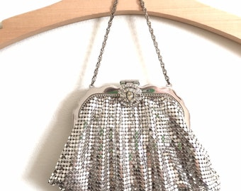 Whiting and Davis, Silver Mesh Evening Purse/Bag with Rhinestone Clasp,  Free Shipping,