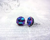 Robot Face Earrings - 10mm Purple Rainbow Faux Druzy Stud Earrings - Rainbow Glitter Studs -Titanium or Surgical Stainless Steel