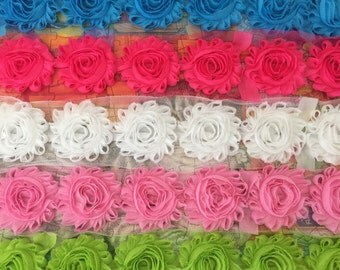 5 Yards Shabby Flowers - Turquoise , Hot pink , White , Pink and Lime