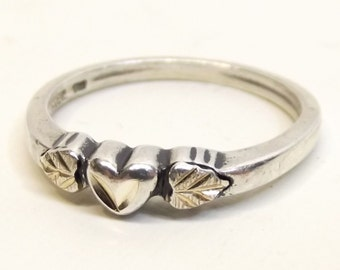 Vintage Sterling Silver 'Black Hills' Heart and Leaves Ring