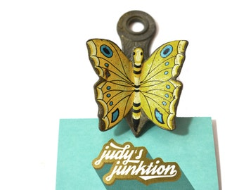 Yellow Butterfly Paper Clip Butterfly Note Holder Brass Butterfly Clip Butterfly Office Supplies Yellow Butterflies