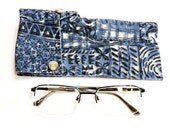 Fabric Sunglass Case, Unisex Washable Eye Glass Pouch, Eco Handmade Tropical Hawaiian Navy Blue Protective Eyewear Sleeve itsyourcountry
