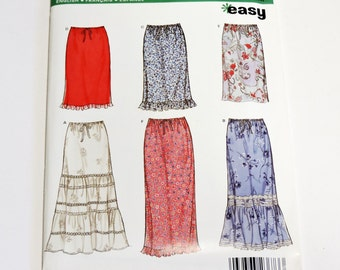 New Look 6953 Womens Easy Straight Skirt Pattern Sizes 8 10 12 14 16 18, Elastic Drawstring Waist with or w/o Ruffles, Uncut  itsyourcountry