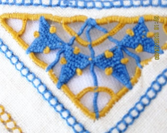 Vintage Linen Openwork  Napkins Blue and Gold Fringe Embroiderery Cutout