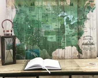 National Parks Map, Push Pin Map, Foam Mounted, USA Parks, Hiking Map, Gift for hiker, Bird watcher, 30X45 Inches