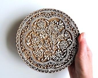 Large Flower Stamp: Hand Carved Wood Stamp, Huge Mandala Indian Printing Block, Lotus Flower, Wooden Craft Textile Stamp, India