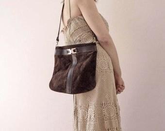 Vintage 70s Boho Dark Brown Printed Suede Shoulder Bag