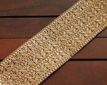 1 Yard-Gold Thread Braided Ribbon Trim-Yoga Bracelet Trim-Wrist Wrap Ribbon-Braided Ribbon-Golden Fabric Ribbon-Crazy Quilt Trim