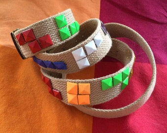 Handmade Tetris Studded Belt Pyramid Studs Pixels Tetris Blocks on Tan Canvas Slide Buckle Belt