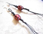 Red Skull Black Macrame Fringe Silver Earrings TCJG