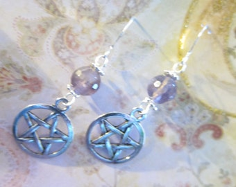 Amethyst Faceted Gemstone Pentagram Charm Earrings TCJG