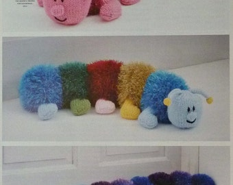 Toy Knitting Pattern K9041 Tinsel Centipedes - Toy, Doorstop and Draught Excluder Knitting Pattern Chunky (Bulky) King Cole