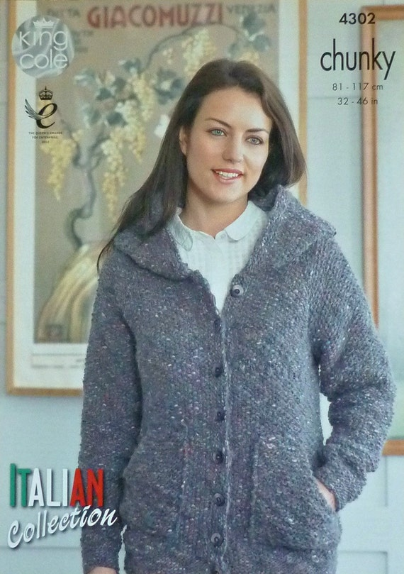 Knitting Pattern Ladies Hooded Jacket : Womens Knitting Pattern K4302 Ladies Long Sleeve Hooded Moss