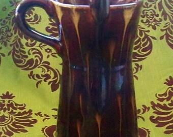 ON SALE Schramberg German Pottery Vase Handled Brown Drip Glaze Mid Century Pottery Home Decor