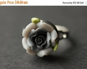 BACK to SCHOOL SALE Gray Flower Ring. Gray Ring. Grey and Black Flower Ring. Rose Ring. Polymer Clay Ring. Adjustable Ring. Flower Jewelry.