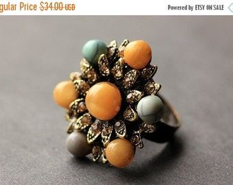 VALENTINE SALE Button Ring. Rhinestone and Gemstone Button Ring. Bronze Button Ring. Vintage Button Ring. Handmade Jewelry.