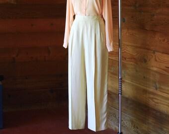 vintage cream silk wide leg trousers / size large