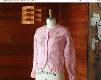 SALE / vintage cardigan / pink knit sweater / size extra small xs