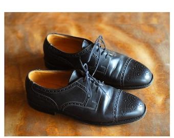 SALE / vintage Bally black leather oxfords / size 6.5 7