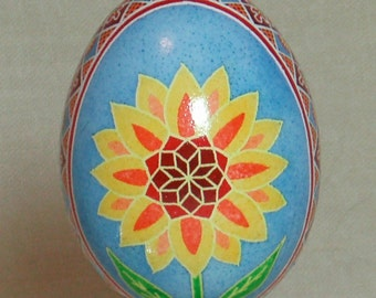 Flower burst and oak leaves pysanka, batik style pysanky ornament on real duck egg shell