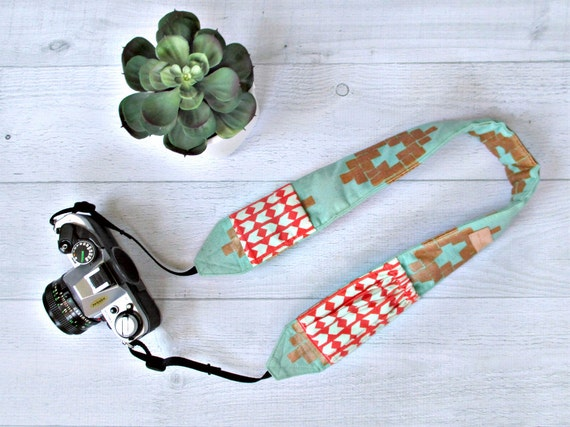 Cute Camera Strap with Pockets | Mint & Copper Padded Strap with Coral Lens Cap Pockets