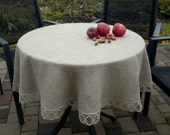 RESERVED for Plumroze - Round Tablecloth Vintage Tablecloth Lace Tablecloth Linen Tablecloth Burlap Tablecloth Washed Linen Lace