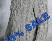 Sweater mens hand knit Gray  XL SALE