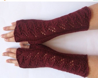 Burgundy Fingerless Gloves Claret Long Arm Warmers Mittens Soft Acrylic Wool