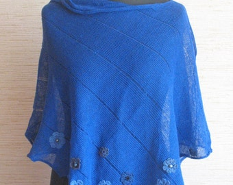 Linen Shawl Cape Clothing Cornflower Blue Stripes Striped / Clothing For Women and Crocheted Flower