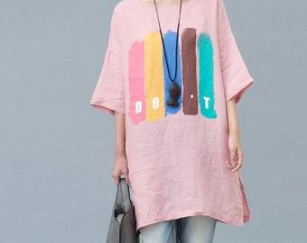 summer pink loose fitting Long t shirt Women summer Clothing
