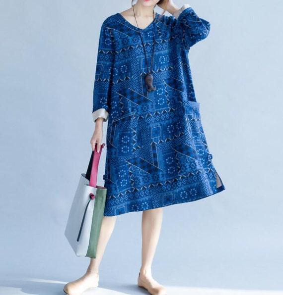Cotton long blue dress autumn loose long sleeved dress