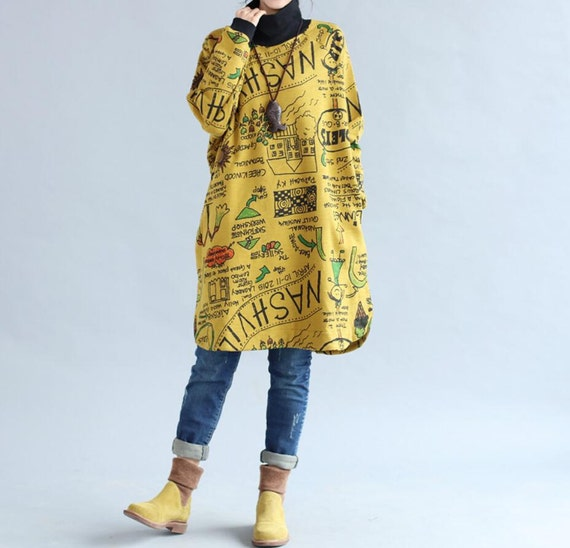 comfortable cotton loose fitting Long sleeve dress Women Long Bottoming long shirt In yellow/ black