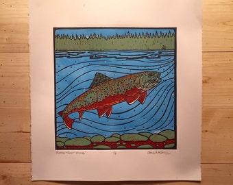 Brook Trout Rising fly fishing artwork of Jonathan Marquardt linocut block print