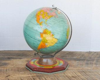 Vintage J. Chein Tin Globe 7 Inch Months Seasons Base