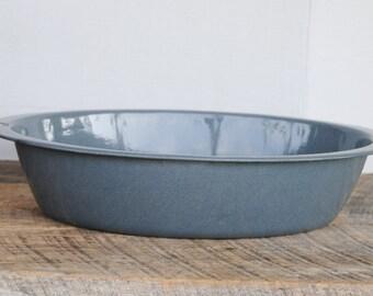 Vintage Grey Oval Enamelware Tub