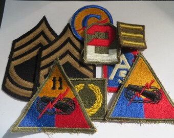 US Army WW2 Patch lot, Msgt Rank these are nice, Armored, 11th Armored,2nd Army and More