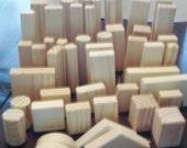Toys & Games - Natural Wood Blocks - 48 Building Blocks - Waldorf - Educational Skills - Creative Pretend Play- 5 yrs up - Handmade