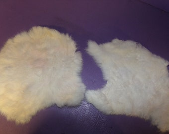 Lot of two (2) Real animal rabbit bunny hide fur tanned rug craft part taxidermy skin