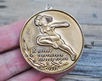 """Vintage Soviet Russian aluminum medal,badge,pendant.""""Spartakiad of Peoples of the USSR""""."""