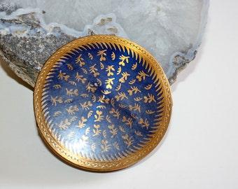 Vintage Powder Compact Gold Tone Cobalt